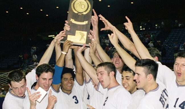 The BYU Men's Volleyball team wins the 1999 NCAA Championship.