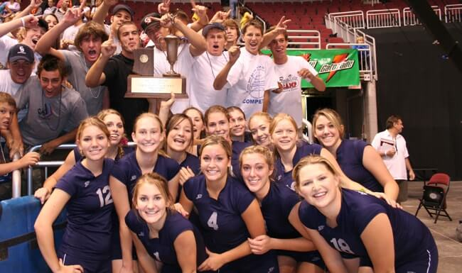 Cactus Shadows women's volleyball wins the state championship in Arizona.