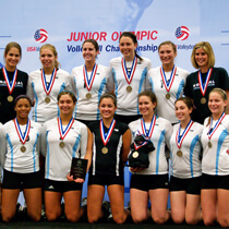Nor Cal Volleyball club celebrates their junior nationals gold medal.
