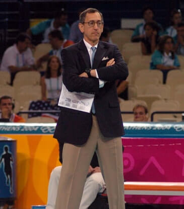 Doug Beal coaching in a volleyball game for team USA.
