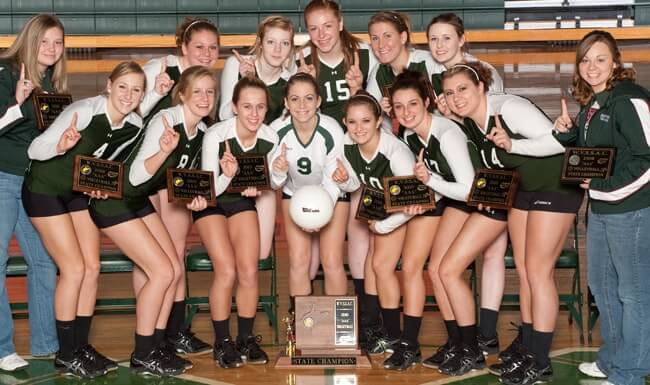 Green River High School Women's Volleyball Team celebrates after winning the High School State Championship.