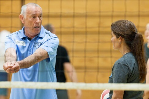 Coach Tom Melton prepares practice at a recent volleyball camp