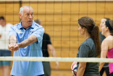 Marv Dunphy teaches passing at our southern california volleyball coaches clinic.