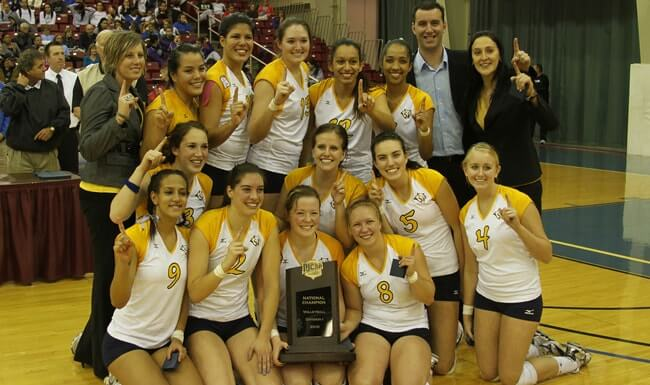 Volleyball coach Giovana Melo celebrates after her team wins the JC National Championship.