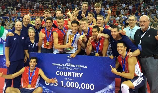 The USA Men's National Team celebrates after winning the 2014 World League Gold Medal.