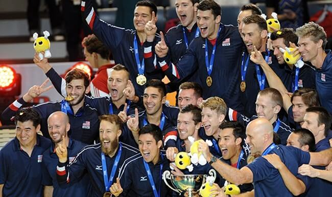 The USA Men's Volleyball team wins the World Cup for the first time in 30 years.