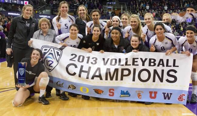 The University of Washington women's volleyball team wins the Pac-12 Championship.