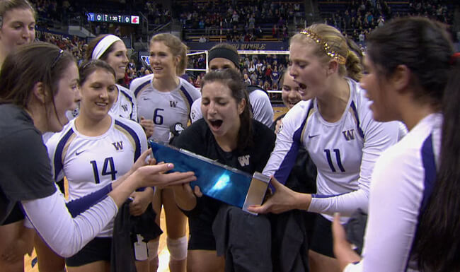 The University of Washington's women's volleyball program celebrates after a big win.