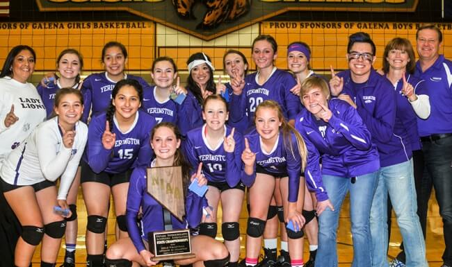 Yerington High School women's volleyball team wins the Nevada State Championship.